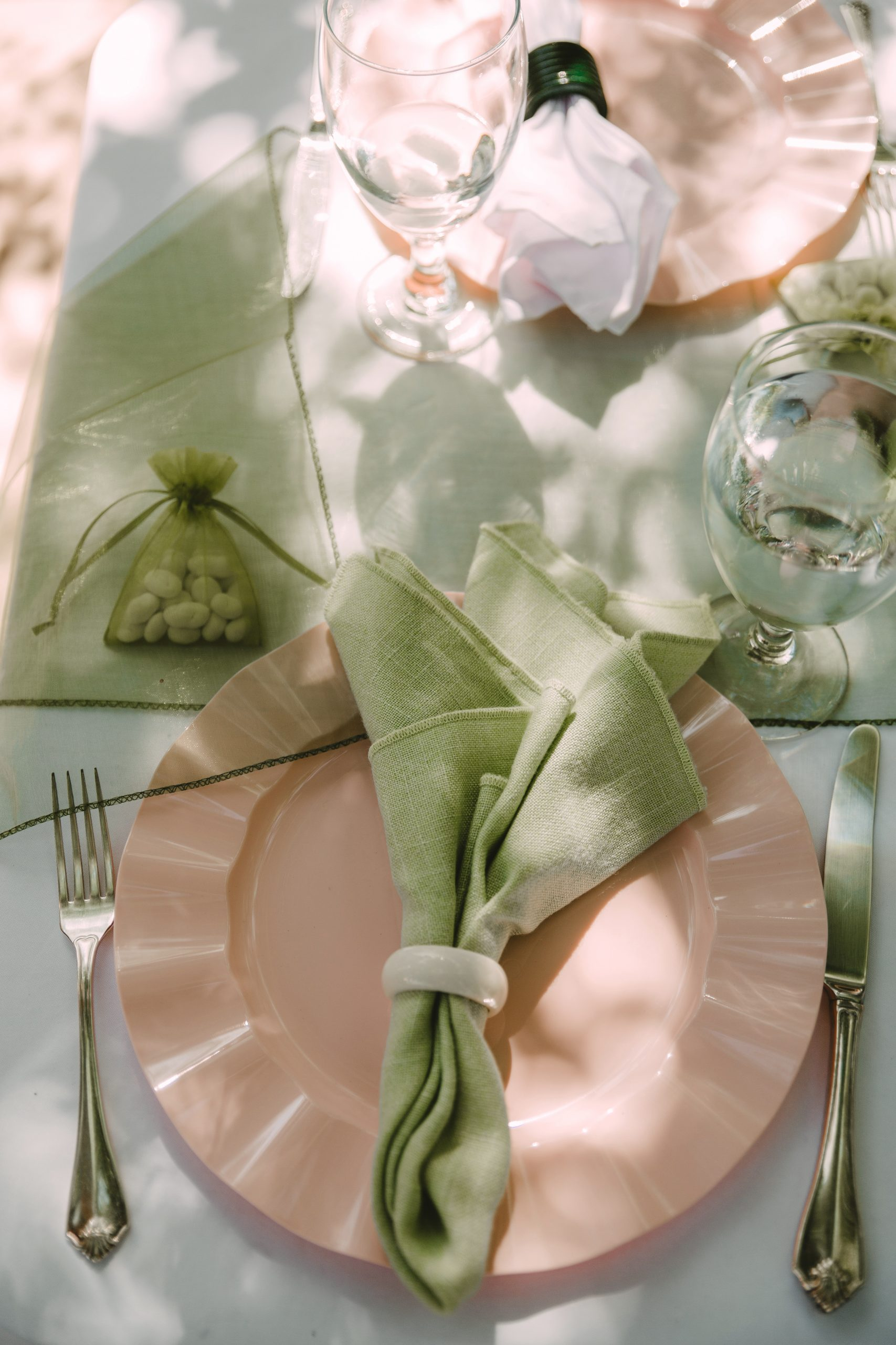 Sage, Cream, and Blush Table Decor